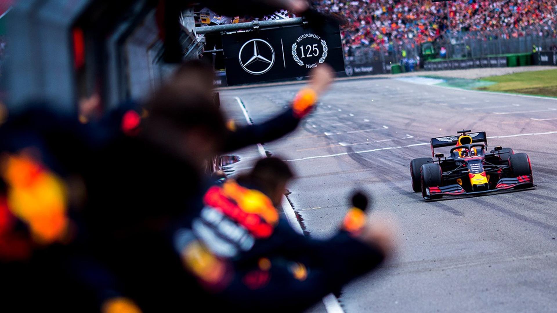Aston Martin Red Bull Racings Max Verstappen At The 2019 Formula One German Grand Prix 100709891